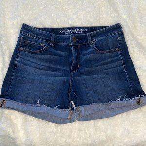AE dark wash jean shorts